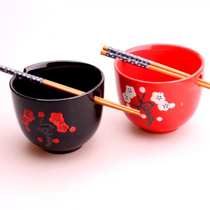 2 bols à soupe avec baguettes - Fleurs de...