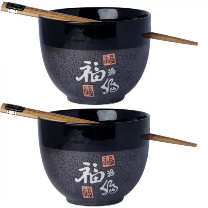 2 bols noir et gris + baguettes motif bonheur