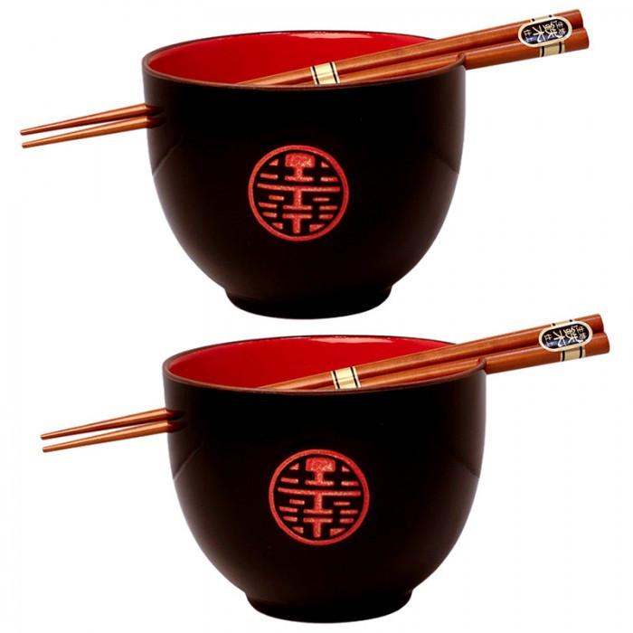 2 Bols noir et rouge + baguettes Motif double Bonheur
