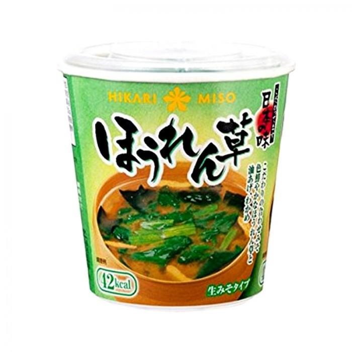 Soupe miso instantanée saveur épinard en gobelet hikari