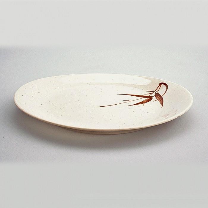 Assiette plastique ovale motifs Bambou