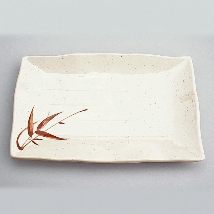 Assiette plastique rectangle motifs Bambou