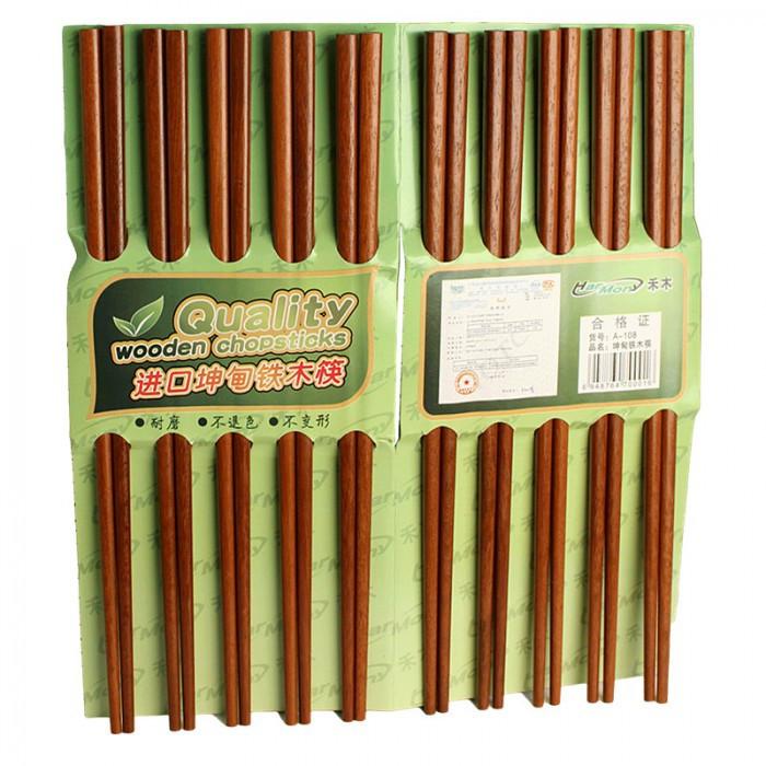 Baguettes marrons en bois de qualité 10 paires