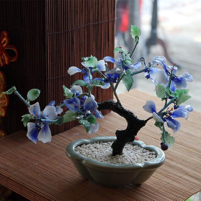 Bonzaï  fleuri bleu en pierre