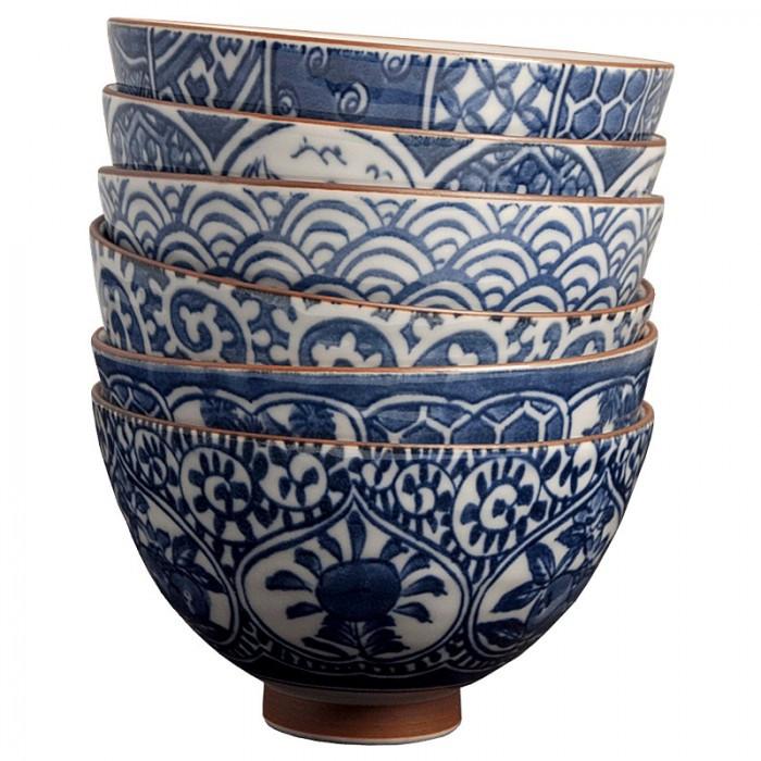 Coffret de 6 bols japonais bleu traditionnel
