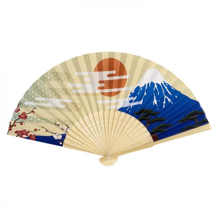 Éventail Mont Fuji beige 21cm