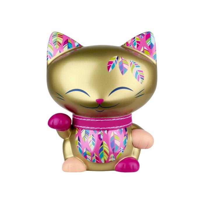 Figurine chat doré collier rose MANI 11cm