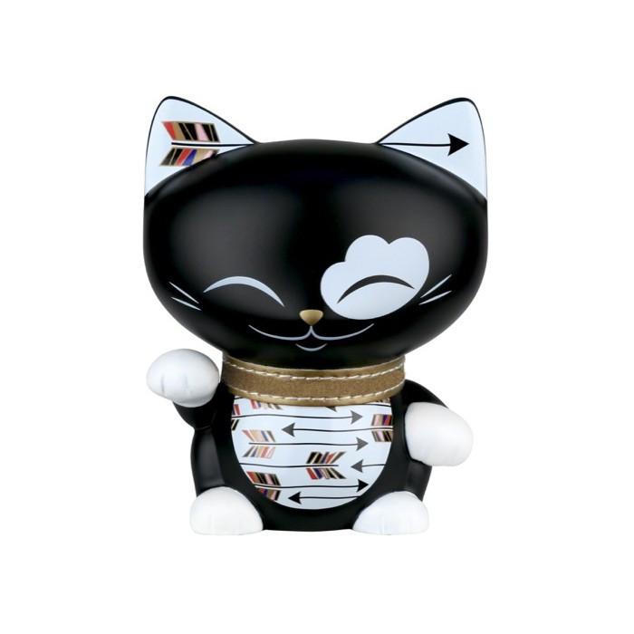 Figurine chat noir et blanc collier doré MANI 11cm