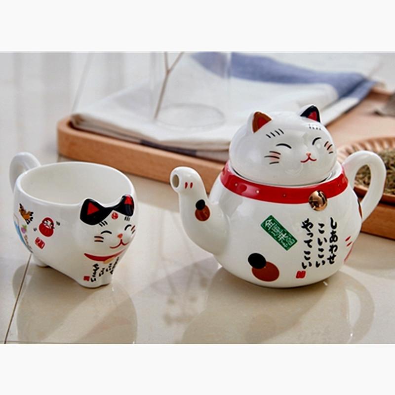 Ensemble théière chat maneki et tasse en porcelaine