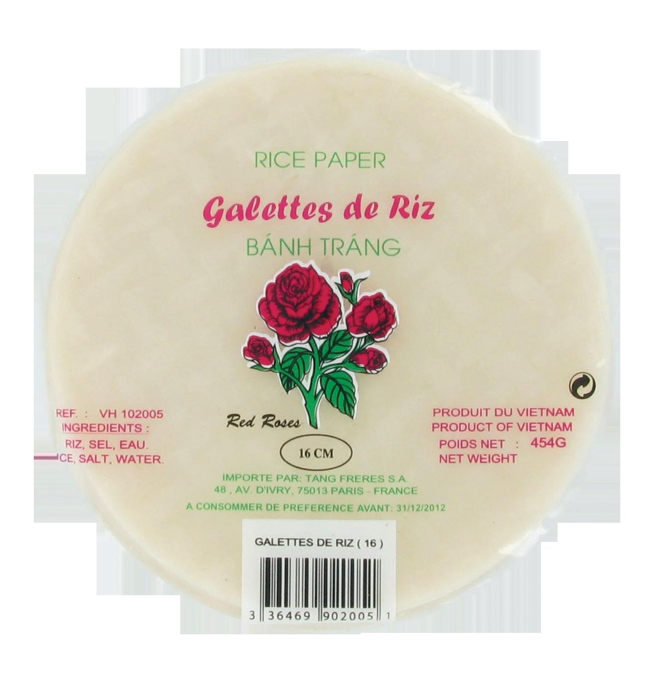 Galettes ou feuilles de riz 16cm 454g