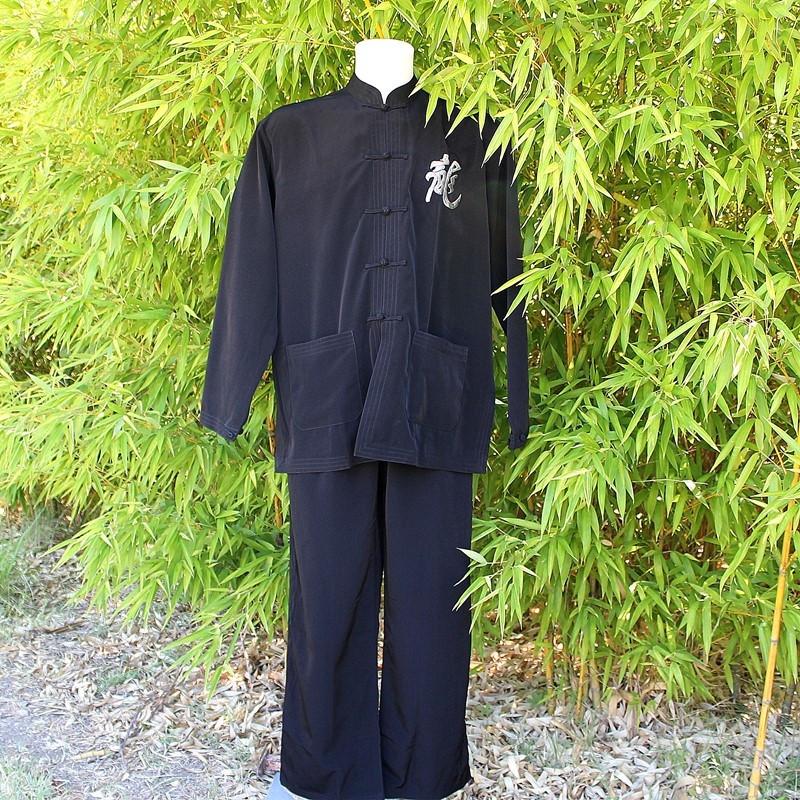 Ensemble veste et pantalon motif dragon gris