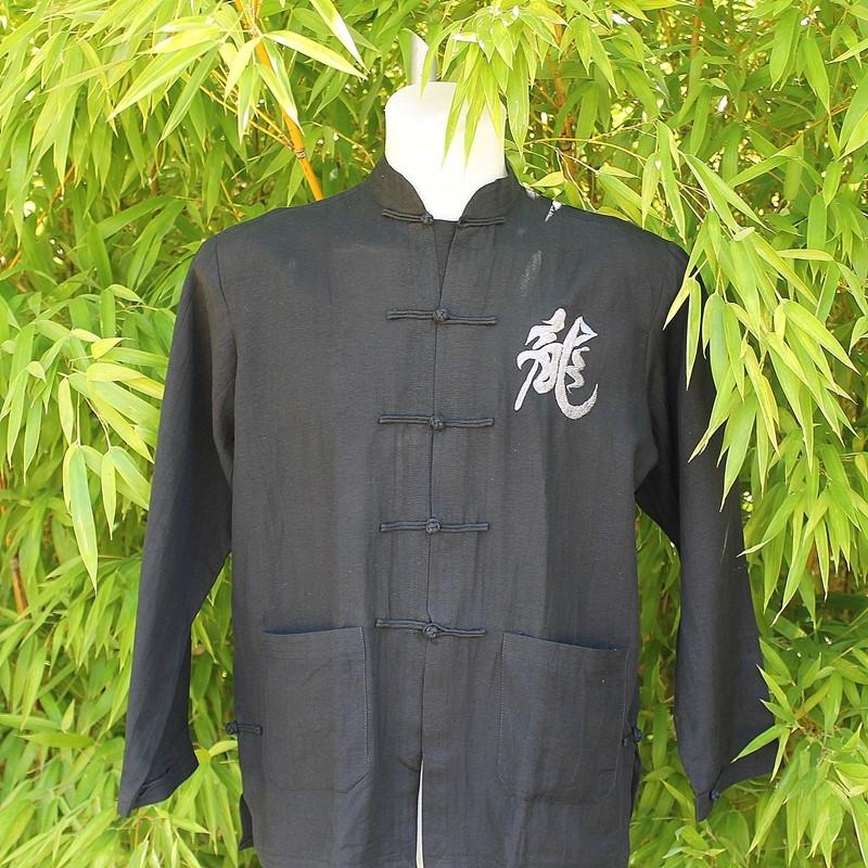 Veste motif dragon gris