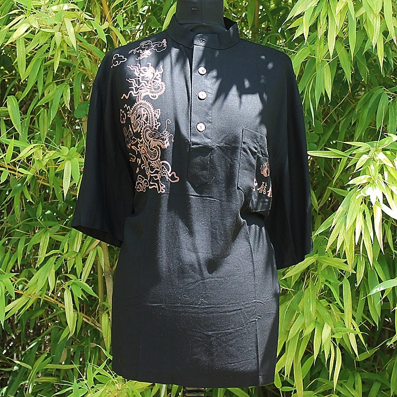 Polo noir motif dragon 100% coton