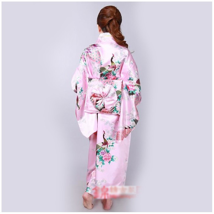 Kimono à imprimé paon et pivoine