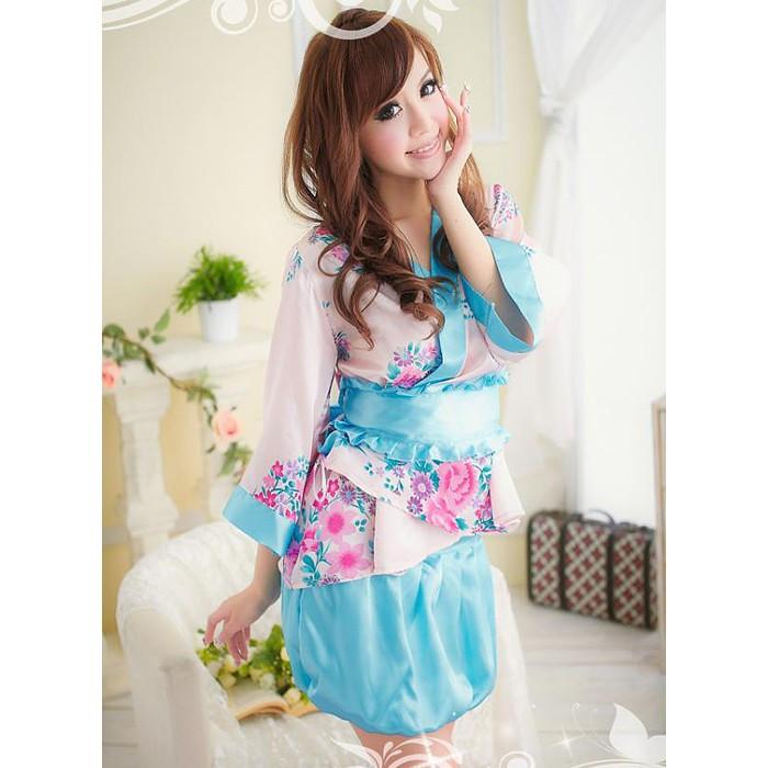 Kimono Fleur de Pivoine rose et bleu
