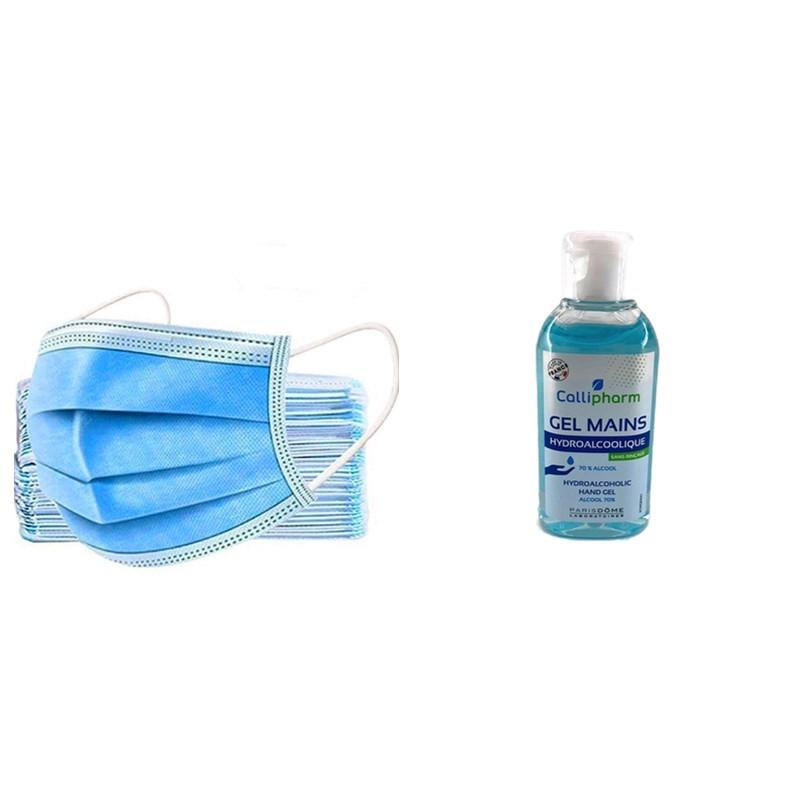 Kit de protection Coronavirus avec masques chirurgicaux et gel hydroalcoolique