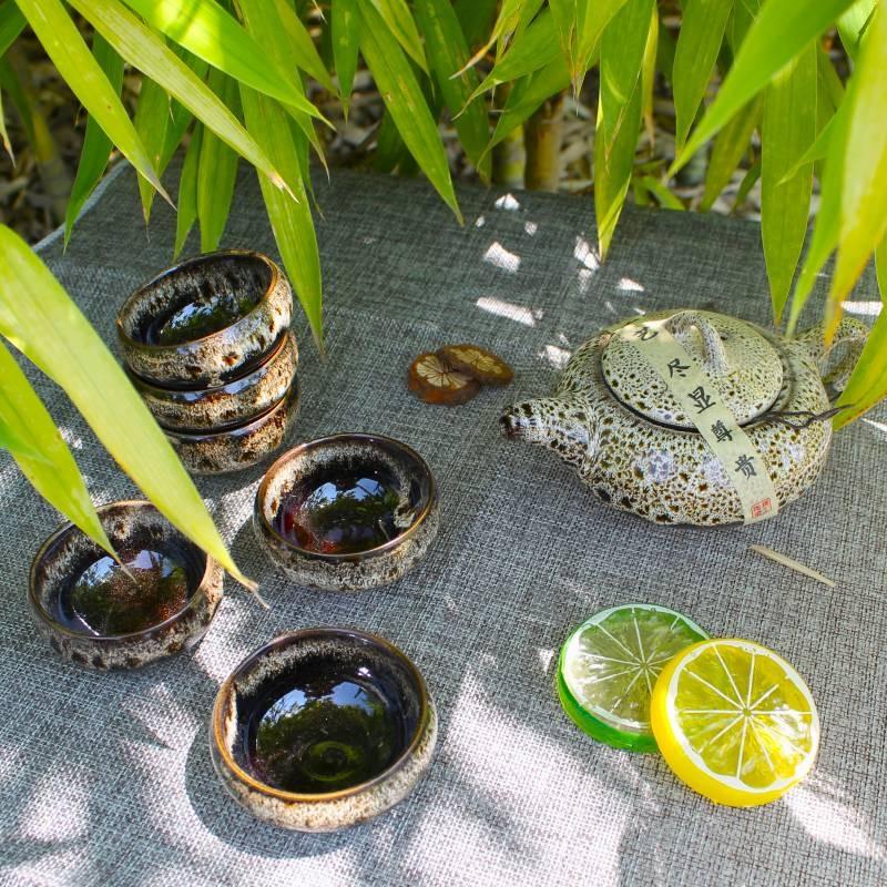 Service à thé brun - 6 tasses et théière