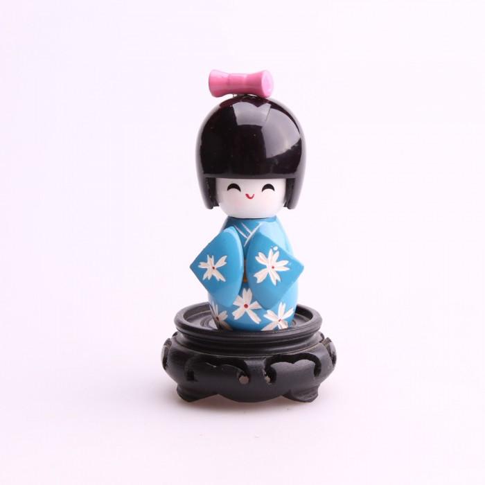 Petite poupée kokeshi bleu fleurs blanches...