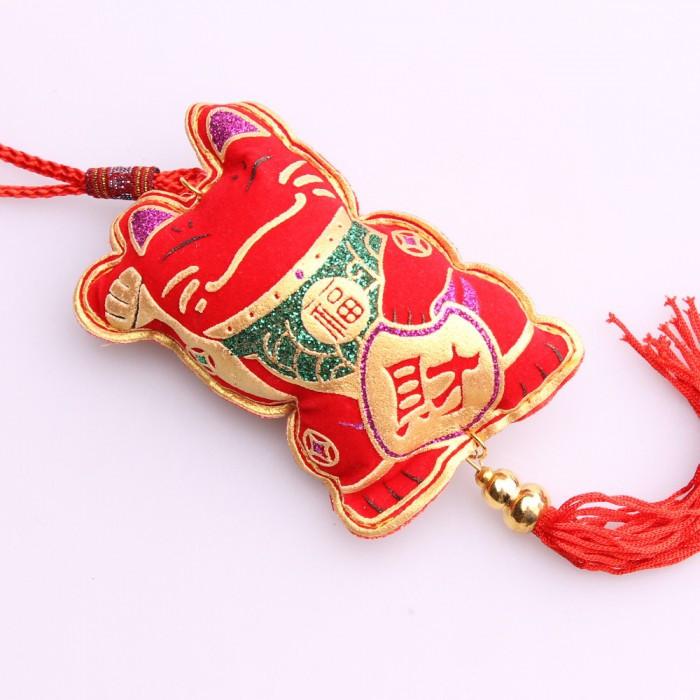 Porte-bonheur grand chat de la fortune rouge