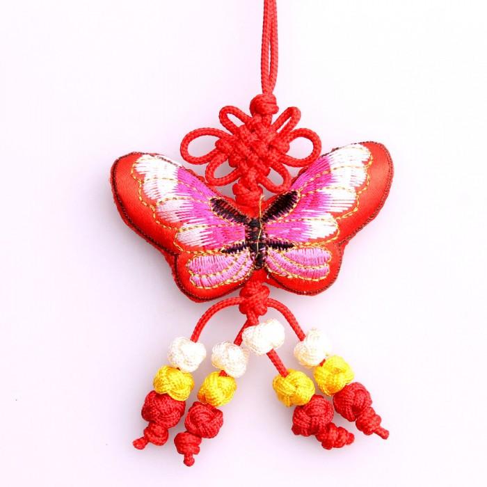 Porte-bonheur papillon rouge Amour
