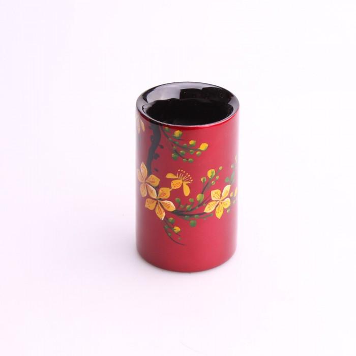 Pot à crayons/bonbonnière bois laqué rouge...
