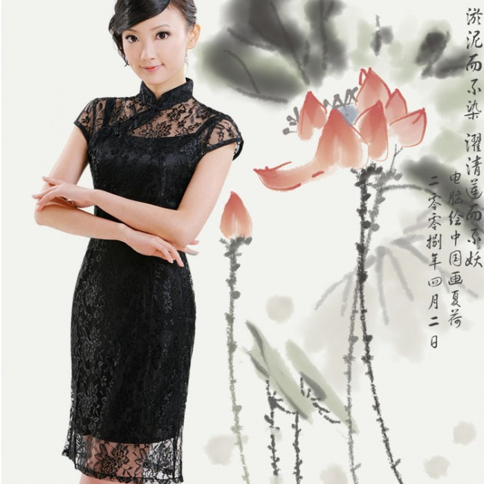Robe chinoise (Qipao) 2 en 1 Lace noir