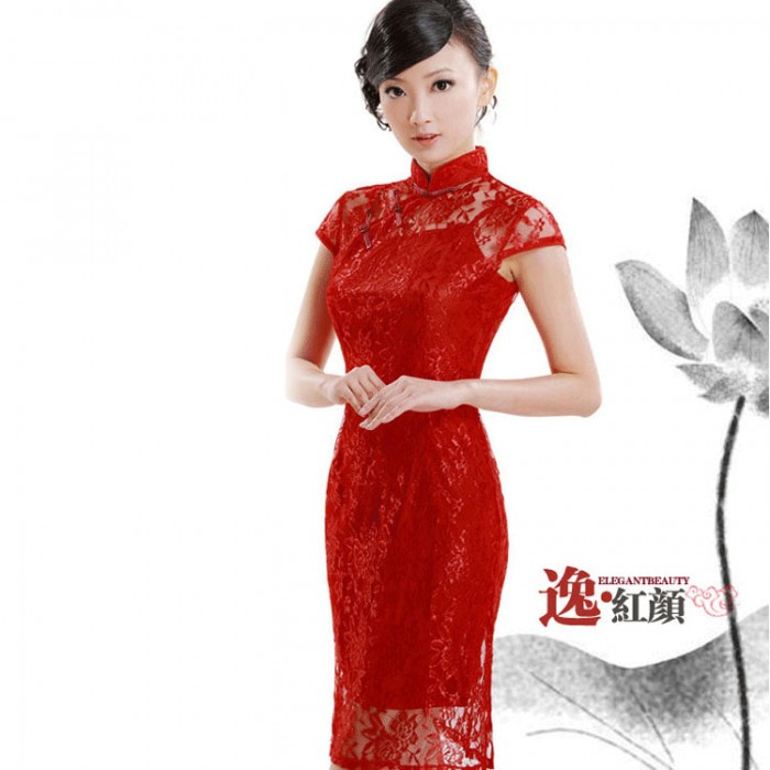 Robe chinoise (Qipao) 2 en 1 Lace rouge