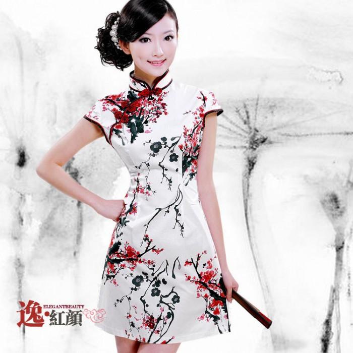 Robe chinoise (Qipao) peinture fleur de...