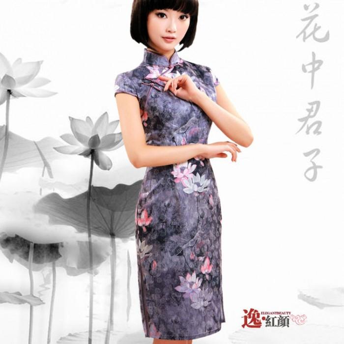Robe chinoise (Qipao) aqurelle de pivoines...