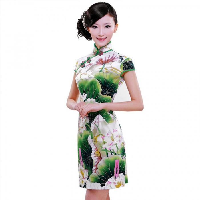 Robe chinoise (Qipao) Lotus vert