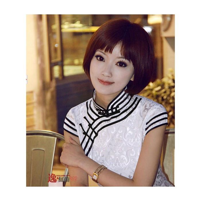 Robe chinoise (Qipao) bords noirs