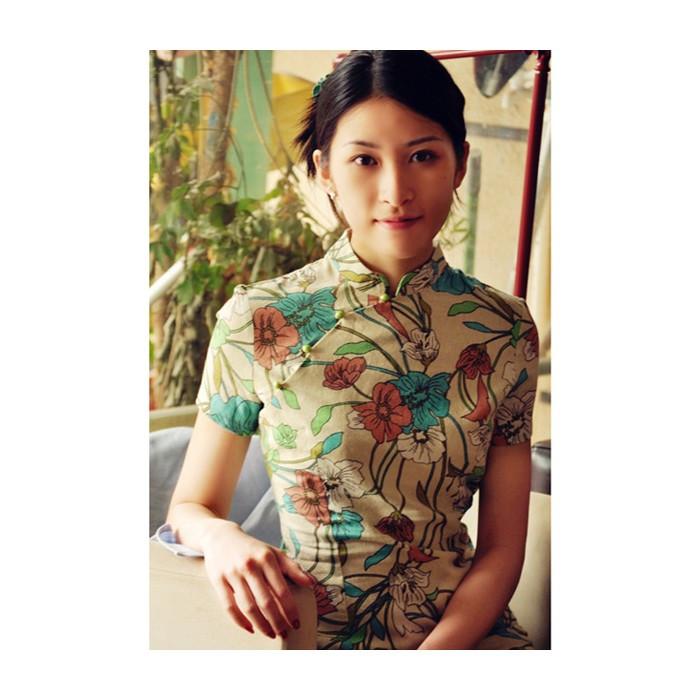 Robe chinoise (Qipao) en lin Fleurs du...