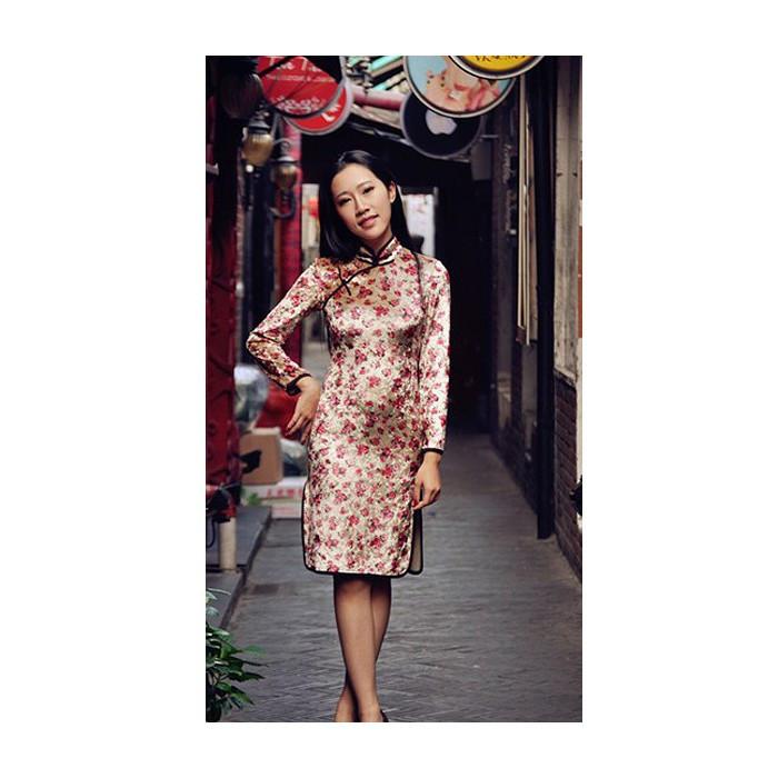 Robe chinoise (Qipao) en velours Fleur de...