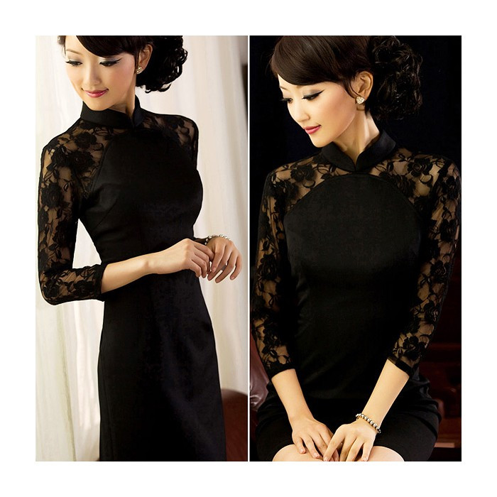 Robe chinoise (Qipao) noire dentelle...