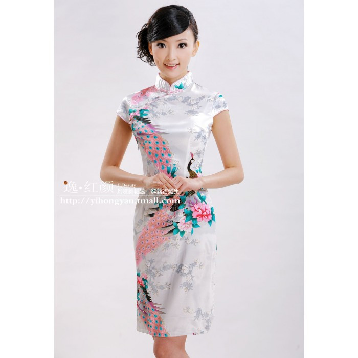 Robe chinoise (Qipao) Pivoine blanche