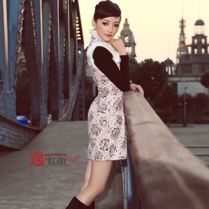 Robe chinoise (Qipao) neige et rose