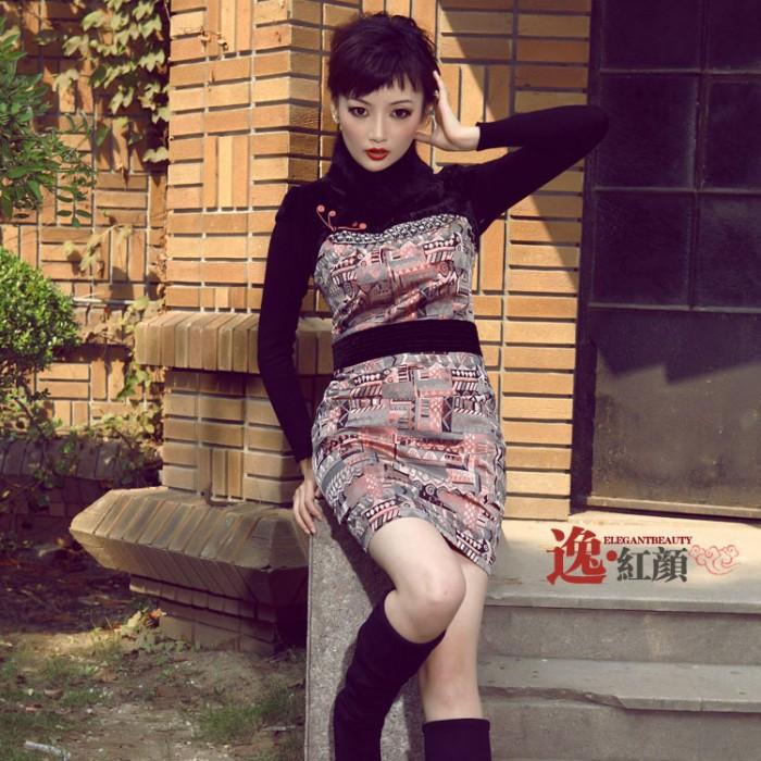 Robe chinoise (Qipao) rouge métal