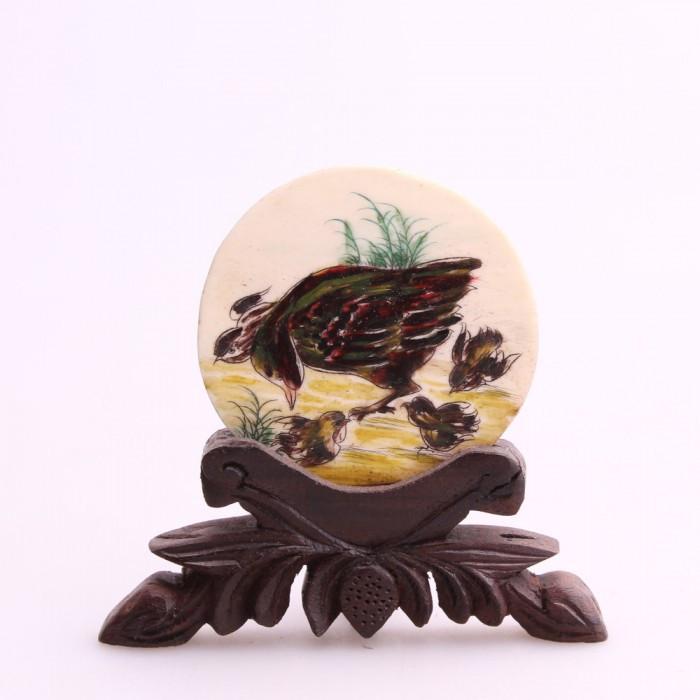 Tableau miniature rond poule et poussins...