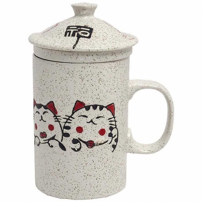 Tasse à thé avec  filtre motif chat