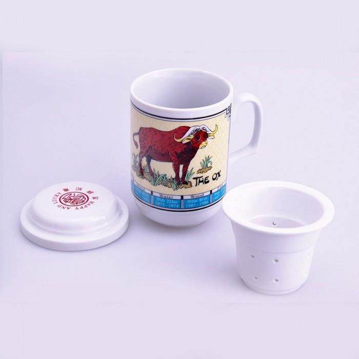 Tasse de thé signe chinois boeuf