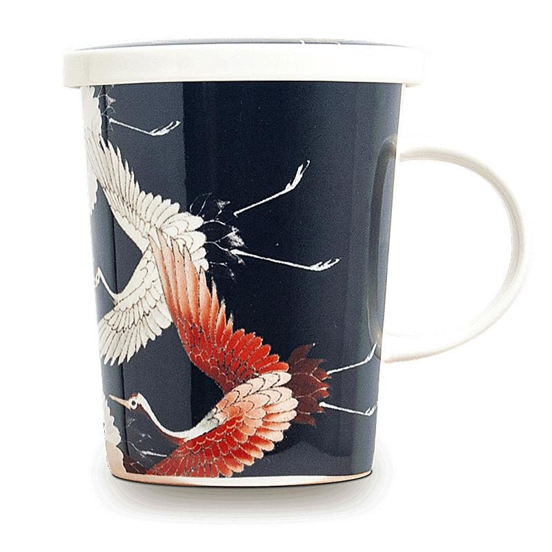 Tasse à thé avec filtre motif Grue à tete rouge