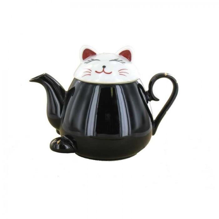 Théhière Chat noir et blanc
