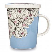 Mug avec filtre et couvercle en porcelaine Fleur de cerisier