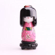 Grande poupée kokeshi chrysanthème blanche