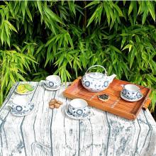 Set théière et tasses en porcelaine motif fleur bleue