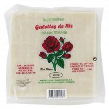 Galettes de riz (Feuille de riz) carré pour nems ou rouleaux de printemps 19cm 1kg