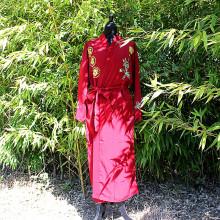 Kimono à fleur bordeaux