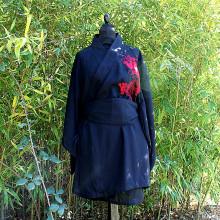 Kimono noir motif dragon rouge taille unique
