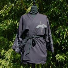 Kimono noir motif grue et nuage taille unique