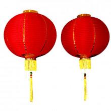 Paire de lanternes rouges rondes 35cm